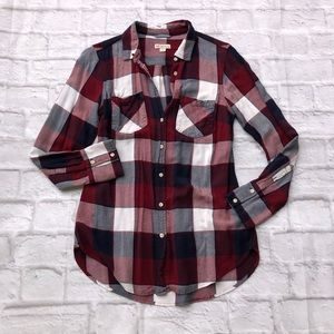 Merona maroon & navy plaid button up tunic shirt